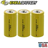 #2: 3x Exell C Size 1.2V 3000mAh NiCD Button Top Rechargeable Batteries for medical instruments/equipment, electric razors, toothbrushes, radio controlled devices, electric tools