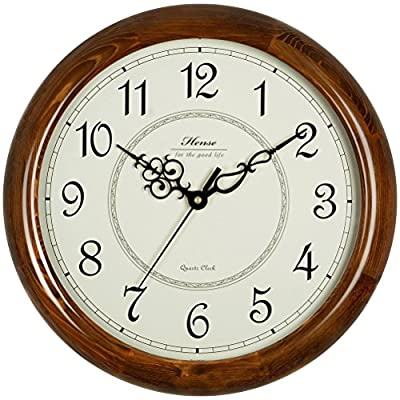 Hense Retro Vintage Living Room Large Decorative Round Wall Clocks Concise Mute Silent Quartz Movement Kitchen Decoration Soild Wood Wall Clock with Sweep Second Hand HW18