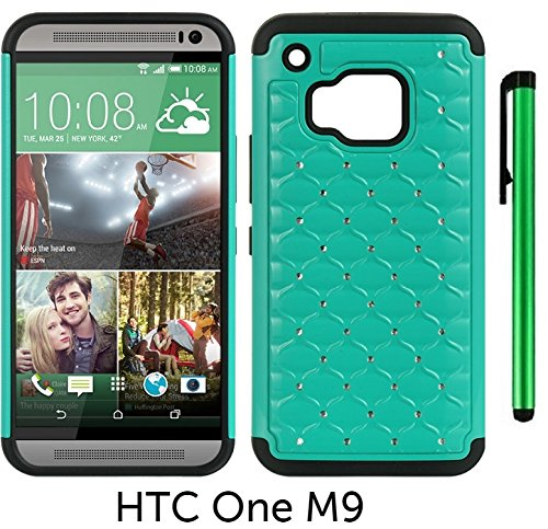 Diamond Htc Leather Touch - HTC One M9 (2015 HTC New Flagship Android Phone; US Carrier: Verizon Wireless, AT&T, Sprint, and T-Mobile) Hybrid Spot Diamond Phone Case - Premium Spot Diamond 2-layer Hybrid Protector Cover Case + 1 of New Metal Stylus Touch Screen Pen (TEAL)