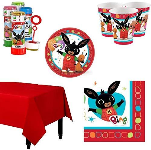 BIGIEMME S.R.L. Kit Coordinato per Feste E Compleanno Coniglietto Bing (Piatti-Bicchieri-tovaglioli-Tovaglia-Bolle di Sapone) (per 40 Persone)