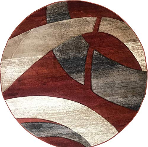 Sculpture Modern Contemporary Geometric Round Area Rug Rust Terra Cotta Burgundy Blue & Beige Design 248 (7 Feet 8 Inch X 7 Feet 8 Inch)