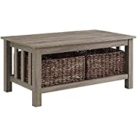 WE Furniture 40 Wood Storage Coffee Table with Totes - Driftwood
