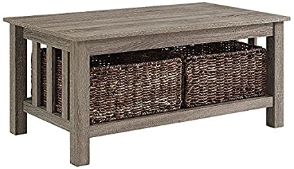Captivating WE Furniture 40u0026quot; Wood Storage Coffee Table With Totes   Driftwood