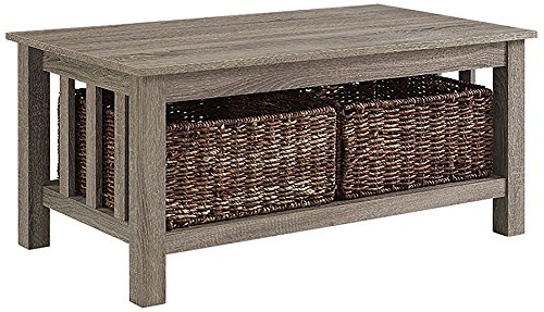 "WE Furniture 40"" Wood Storage Coffee Table with Totes - Driftwood - High-grade MDF Includes two wicker baskets Ample storage space - living-room-furniture, living-room, coffee-tables - 51bP1bimSkL -"