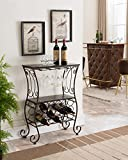 Kings Brand Metal With Marble Finish Wine Storage Organizer Rack Console Table