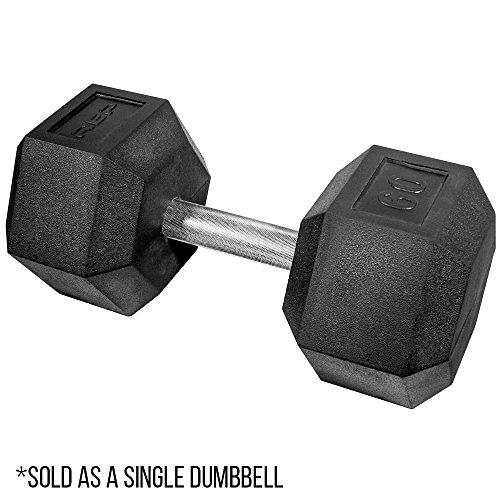 Rep Rubber Hex Dumbbells, 60 lb Dumbbell