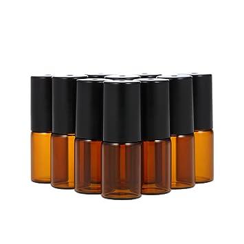 Anself 3ml Botella de Vidrio para Aceite Esencial de Color Marrón, Abrebotellas y Cuentagotas Incluídas