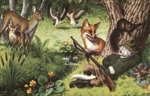 Cat Hunter Sleeping Under Tree Dressed Animals Original Vintage Postcard from CardCow Vintage Postcards