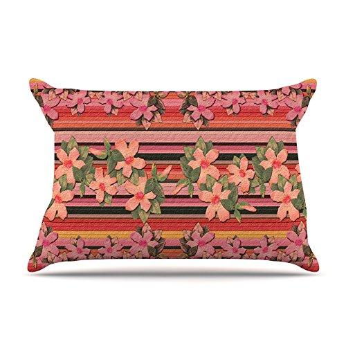 30 x 20 Kess InHouse Nina May Peach Hibiscus Stripe Pink Orange Fleece Pillow Case