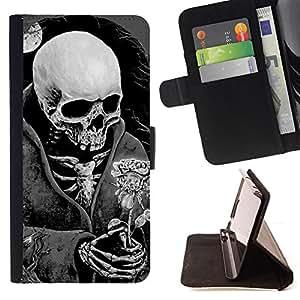 BullDog Case - FOR/Samsung Galaxy S4 IV I9500 / - / DEATH REAPER GRIM BLACK WHITE ROSE /- Monedero de cuero de la PU Llevar cubierta de la caja con el ID Credit Card Slots Flip funda de cuer