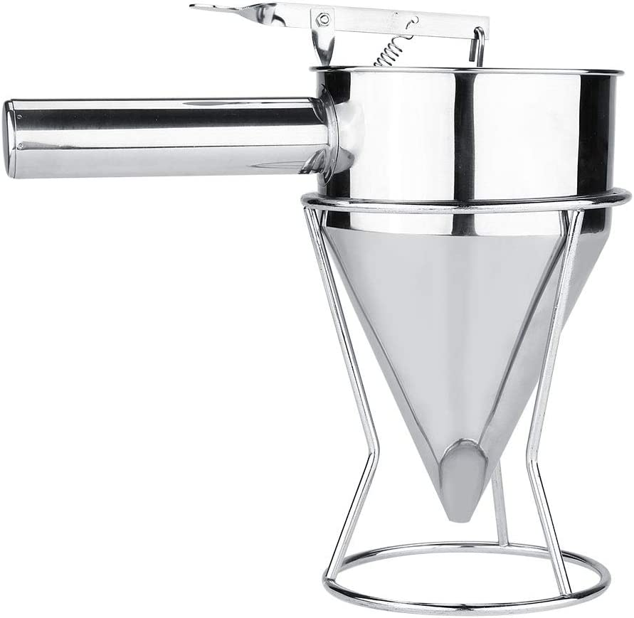 Piston Funnel - Stainless Steel Pancake Batter Dispenser Baking Funnel Cake Desserts Cooking Tools with Stand, Cake Desserts Making Bakery Use Transferring Liquid for Takoyaki and Baking