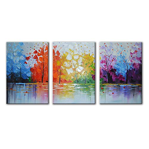 EVERFUN ART Hand Painted Oil Painting 3 Pieces Modern Abstract Wall Art Hanging Lake Scenery Landscape Canvas Picture Framed Ready to Hang 48