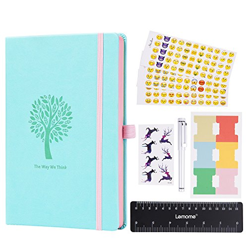 Price comparison product image Bullet Journal - Lemome Dotted Numbered Pages Hardcover A5 Notebook with Pen Holder + Premium Thick Paper + Bonus Gifts (Mint Green)