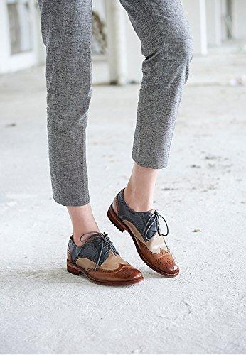 Honeystore Mujeres Brogue Talla Wingtip Cuero Empalme Color Lace Up Flats Zapatos Gris