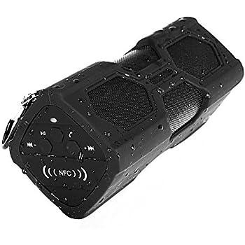 [Waterproof Sport Speaker] Captain Wireless Stereo Bluetooth Outdoor Speaker, Csr4.0 2*5W Dustproof Shockproof Bass Subwoofer Sound Speaker 2 in 1 Function with 3600mah Power Bank/ Mic / NFC Support, Black