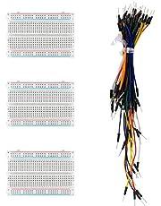 risingsaplings 3pcs 400 Hole Breadboard Ties Mini Solderless Breadboard Universal with 65pcs Wire