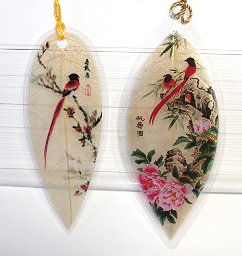 Lucore Red Birds Pair Leaf Bookmarks -Made of Real Leaves - 2 Pcs Lucky Charm, Ornament, Hanging & Wall Decor, Art Decoration