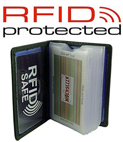 Leather Wallet 16 Card RFID Black Black Holder Credit Cards For Blocking I1UarxI