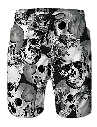 Goodstoworld Mens Swim Trunks Gray Skull Hipster Big and Tall Beach Board Shorts Casual Party Cruise Surfing Swimwear Pool Bathing Suit Swim Pants ()