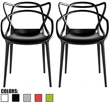 2xhome - Set of 2 - Black Dining Room Chairs - Modern Contemporary Designer Designed Popular Home Office Work Indoor Outdoor Armchair Living Family Room Kitchen Bed Bedroom Porch Patio Balcony Arm Chair Swimming Pool Backyard Back Yard In Out Door Seat Vogue Trendy In Style Stylistic Artistic Art Elegant Stackable Stacking Stack