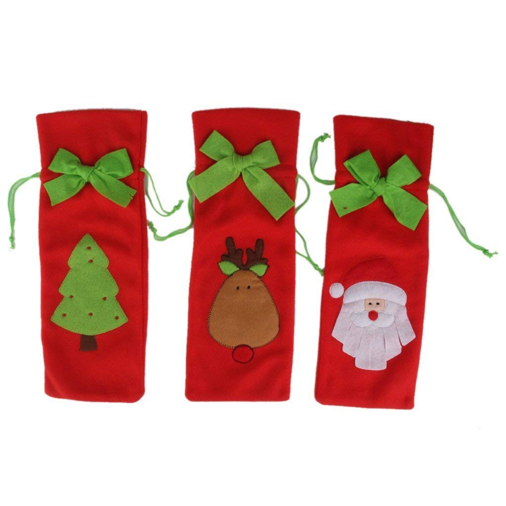 Ndier Botella de Vino 3pcs del Bolsa con árbol de Ciervo Navidad Santa: Amazon.es: Hogar