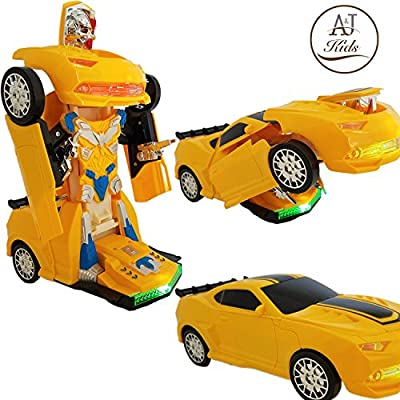 Battery Operated Bump and Go Transformers Toys for Kids – Auto Transforming Autobots Action Figure and Toy Vehicles - Realistic Engine Sounds and Beautiful Flash Lights