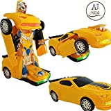 transformers toys action figures - ANJ Kids Toys - Battery Operated Bump and Go Transformers Toys for Kids -Auto Transforming Autobots Action Figure and Toy Vehicles - Realistic Engine Sounds & Beautiful Flash Lights(Bumblebee Figure)