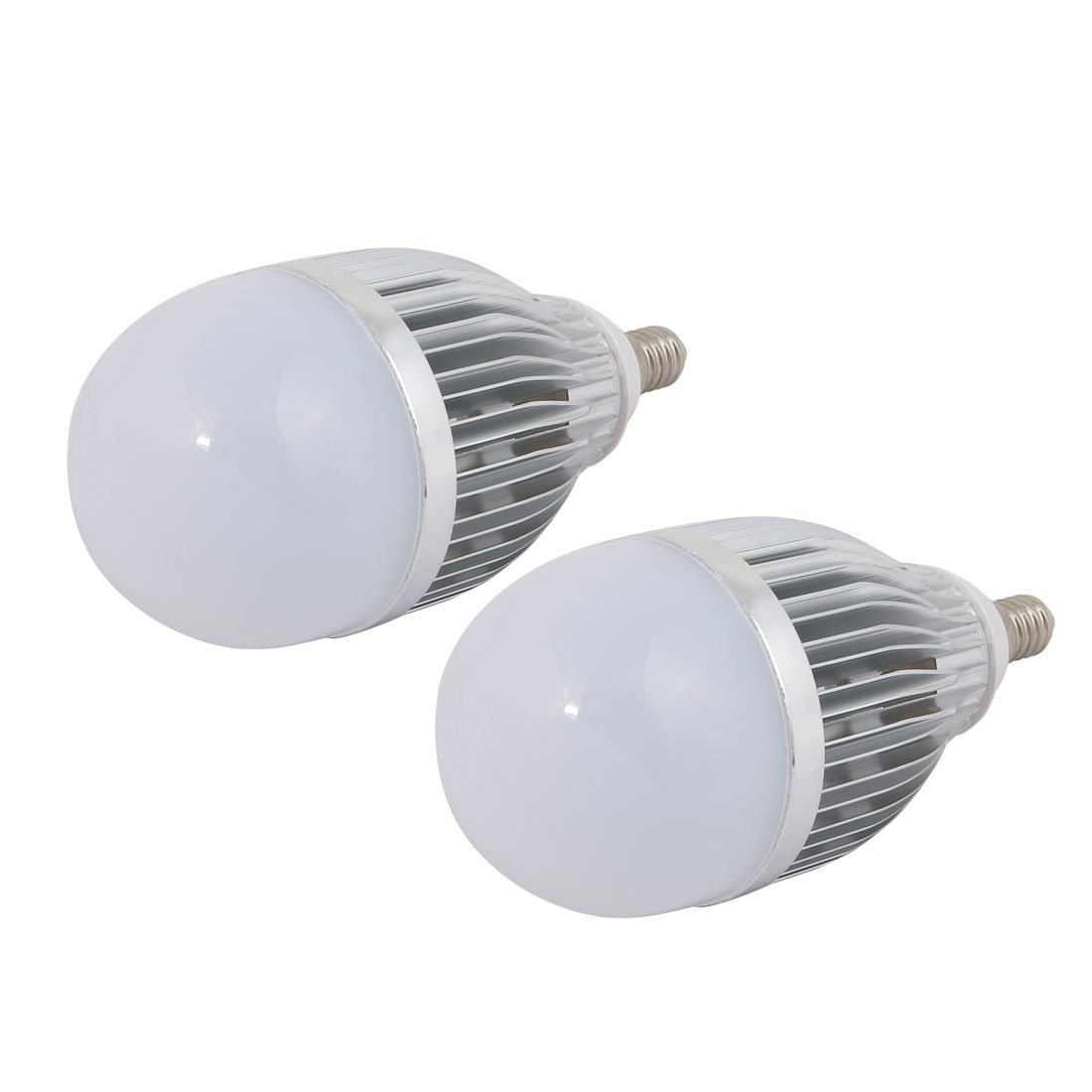 uxcell 2Pcs 9W/12W Sliver Tong Aluminum Ball - Bulb Lamp Housing E14 Base w White Cover