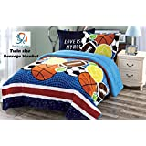 Fancy Collection 2pc Twin Size Blue Orange Brown White Sport Blanket Sumptuously Soft Plush with Sherpa Winter Blankets Bedspread Super Soft (Sport)