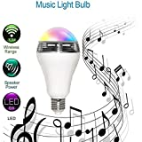 MFEEL Universal LED bluetooth speaker bulb - Dimmable Multicolored Color Changing LED Lights - Smart RGB LED Light Bulbs with Speaker for Home, Office, Parties, Dinners