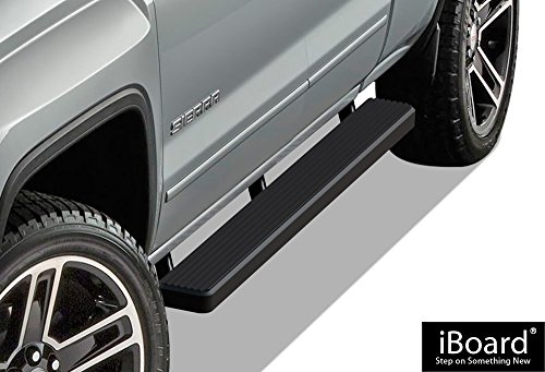 APS iBoard (Black Powder Coated 5 inches) Running Boards | Nerf Bars | Side Steps | Step Rails for 2007-2018 Chevy Silverado GMC Sierra Double Cab/Extended Cab & 2019 2500 HD / 3500 HD