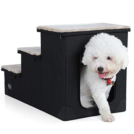 Petsfit Sturdy 3-Steps Dog Stairs with Inside House for Pets Up to 65LB, 26.5 x 14 x 16.5
