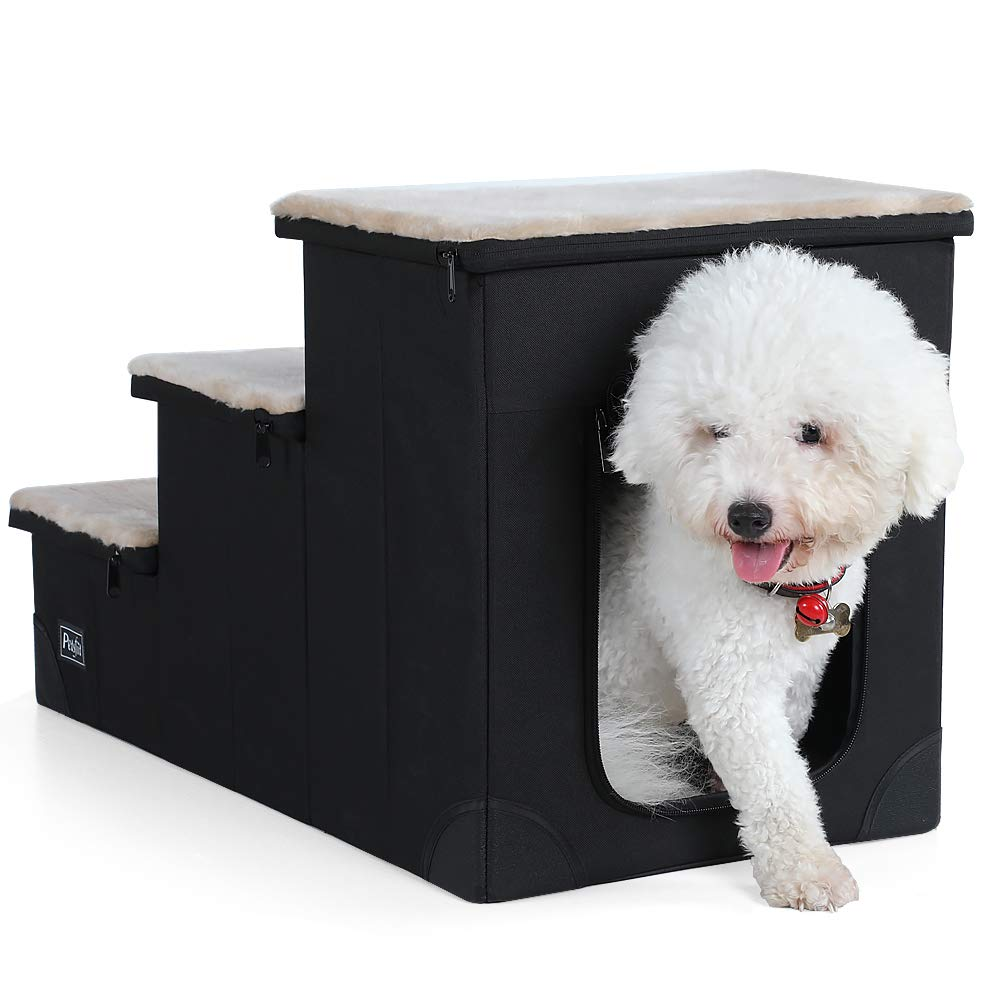 Petsfit Sturdy 3-Steps Dog Stairs with Inside House for Pets Up to 65LB, 26.5'' x 14'' x 16.5''