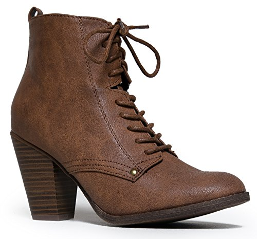 Lace Up Vintage Inspired Military Combat Heel Ankle Boot Bootie
