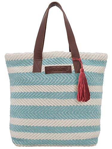 Brakeburn Stripe Ladies Bag Summer Print Beach Mint Leather Handle Woven qBqr5n
