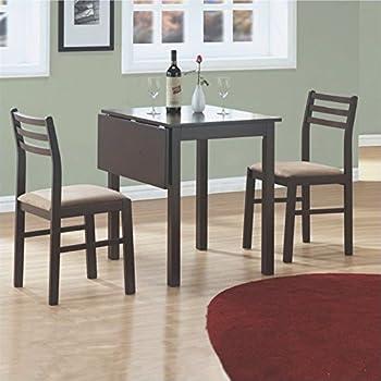 Monarch Specialties 3-Piece Solid-Top Drop Leaf Dining Set, Cappuccino