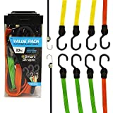 SmartStraps Bungee Cords (10pc Value Pack) – Secure Luggage, Coolers and Other Light Loads for Transport – Flat Strap Bungee Cords Distribute Load to Reduce Slipping