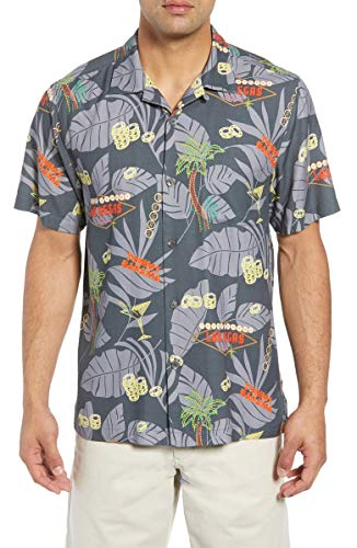 - Tommy Bahama Poker in Paradise Silk Camp Shirt (Color: Onyx, Size L)