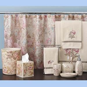 Vintage rose shower curtain home kitchen - Anna s linens bathroom accessories ...
