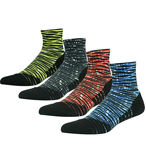 HUSO Men's Women's Run Lightweight Athletic Soft Quarter Ankle Training Socks,4 Pairs(Multicolor,L/XL)