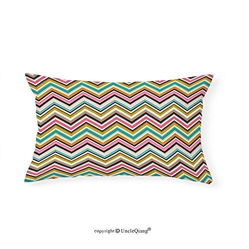 VROSELV Custom pillowcasesGeometric Zig Zag Chevron Triangle Modern Colorful Stipes Border Like Retro Artwork Print for Bedroom Living Room Dorm Multicolor(12''x24'') by VROSELV