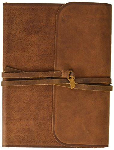 Look Strand Single - Single Column Journaling Bible: English Standard Version, Brown, Natural Leather, Flap With Strap