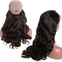 Younsolo Brazilian Body Wave Lace Front Wigs Virgin Remy Human Hair Body Wave Wigs with Baby Hair For Black Women Free Part Natural Color (18 inch Lace Front Wig)