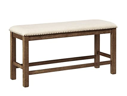 height of dining table bench dimensions ashley furniture signature design moriville counter height dining room bench grayish brown amazoncom
