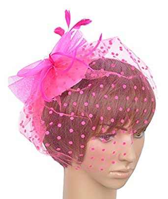 Womens Fascinator Hat with Clip and Brooch B-rose red