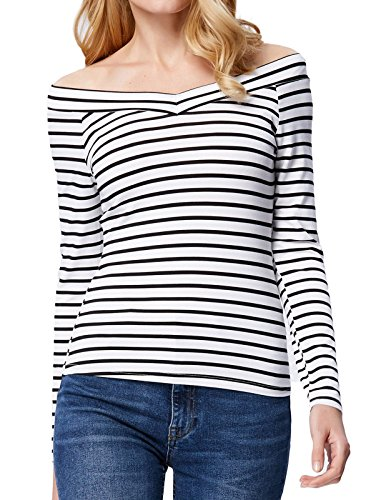 Kate Kasin Women's Deep V-Neck Long Sleeve Striped Tank Top (M,Stripe K1029) (Tank Top V-neck Sleeve Long)