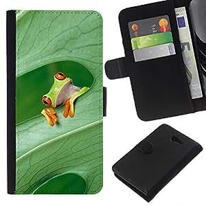 KLONGSHOP // Tirón de la caja Cartera de cuero con ranuras para tarjetas - Expresión de la rana Piense Bosque - Sony Xperia M2 //