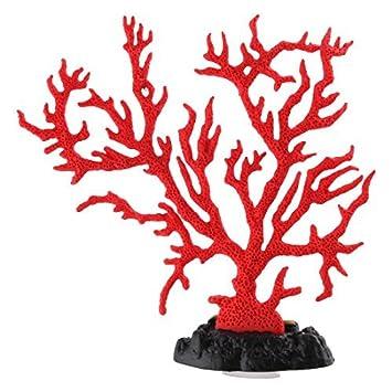 DealMux peces de acuario tanque artificial ventosa paisaje de coral decoración en color rojo Planta: Amazon.es: Productos para mascotas