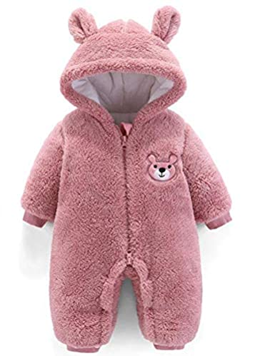 Ruiqas Newborn Baby Cartoon Bear Winter Jumpsuit Thick Warmer Hooded Flannel Snowsuit Romper Outwear Clothes