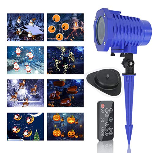 Zenic LED Animated Projector Lights, IP65 Waterproof Outdoor/Indoor Landscape Decoration Lighting Projection with RF Remote Control & 8 Slides for Halloween Christmas Holidays